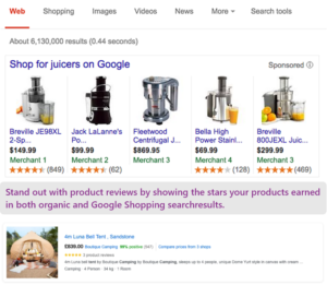 Product reviews are shown in Google